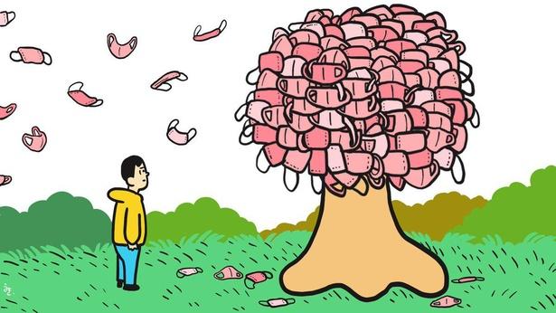 「桜が散る頃には元の生活に戻れますように」と願いが込められたイラスト