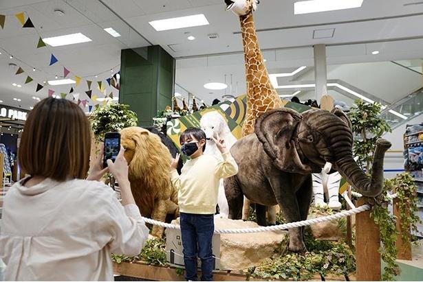 動物の大型ぬいぐるみが並べられた「ぬいぐるみ動物園」の前でパシャリ