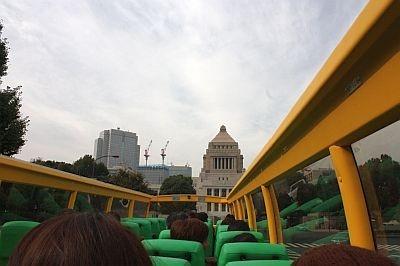 皇居を通って国会議事堂が見えてくる。屋根がないから正面にど〜ん!と登場してカッコイイ
