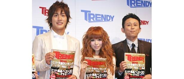 '09年なにかと話題になった溝端淳平、益若つばさ、有吉弘行(左から)