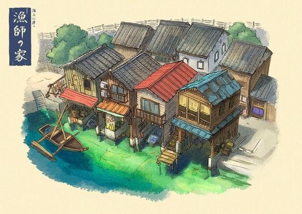 京都府伊根の舟屋をモチーフにした「海上に建つ漁師の家」