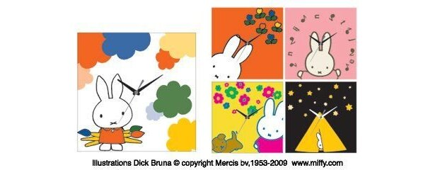 キュートなデザインが魅力!「miffy アートクロック(5柄)」(3990円)