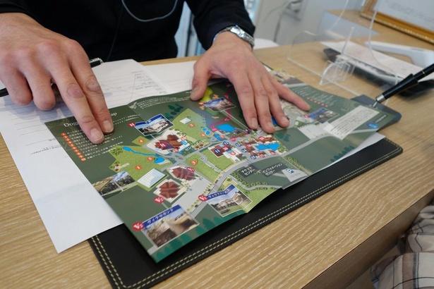 広い園内なので、マップを見ながら説明を受けよう
