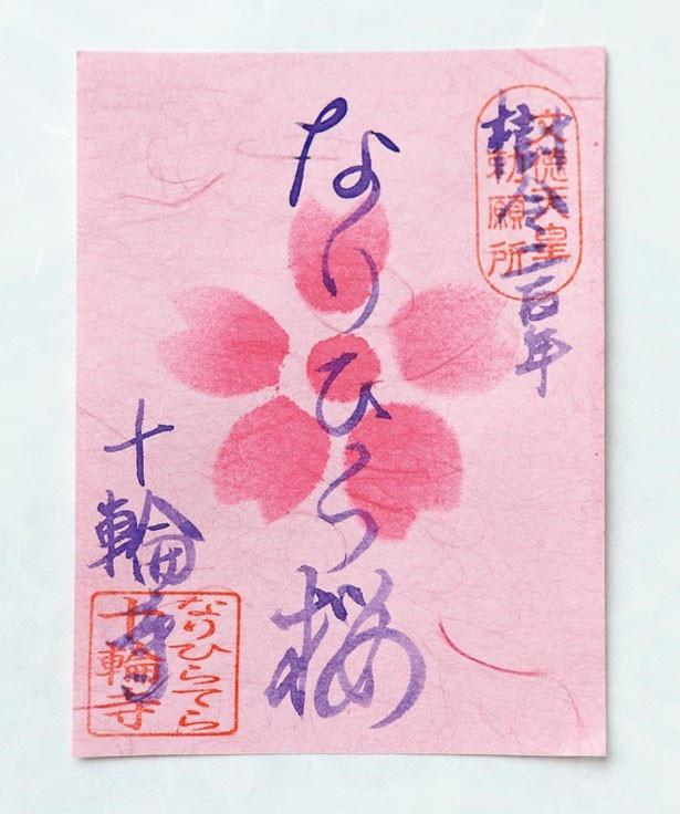 3月上旬から4月下旬、シダレザクラの咲き始めから散り際までを副住職が和紙に手染めする、さくら御朱印が登場する/なりひら寺 十輪寺