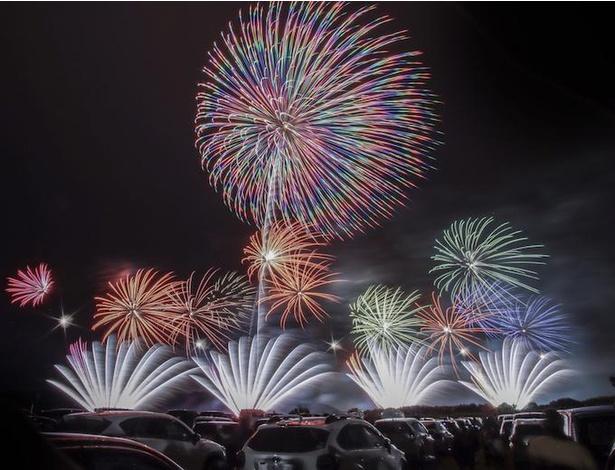 音楽のリズムに合わせた花火が夜空を彩る