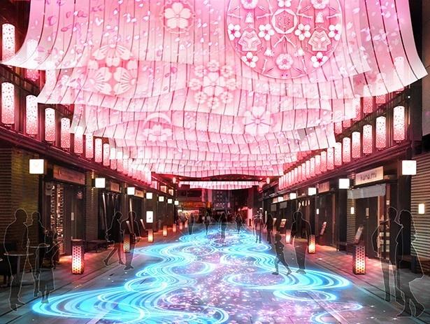 【写真を見る】桜の花びらが優雅に舞い水面を埋め尽くす様子を表現した「NIHONBASHI SAKURA GATE」