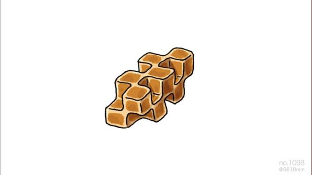 「パン耳が食べまくれるパン」。角が多い消しゴムの異質さを食パンと重ね合わせた作品