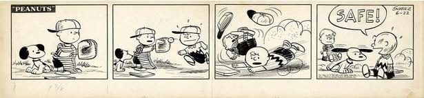 【写真】展示される原画の一部を公開。野球の試合に審判として参加するスヌーピーがかわいい!「ピーナッツ」原画 1954年6月22日