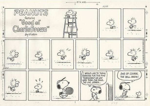 """ウッドストックがボールパーソンならぬ""""ボールバード""""に。「ピーナッツ」原画 1978年3月5日"""