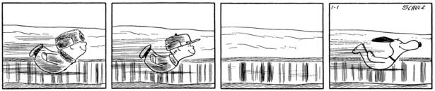 おなかで氷上を滑っているのは子供たちと……スヌーピー!「ピーナッツ」複製原画 1957年1月1日
