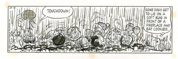 大雨の中、アメフトに夢中なペパーミント・パティ。「ピーナッツ」原画 1994年10月13日