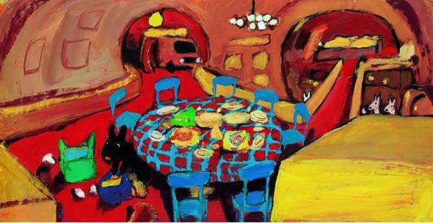 ブルーとレッドのテーブルも部屋に再現!