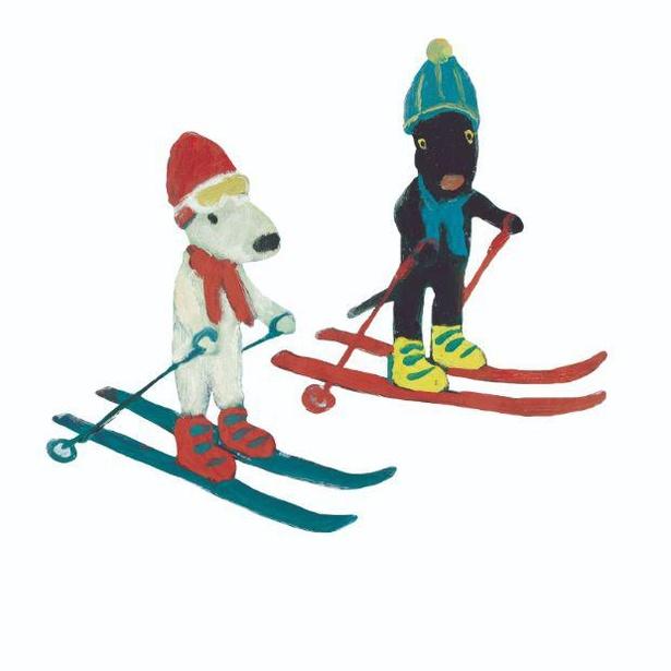 スキーを楽しんでる?冬ファッションのリサとガスパール