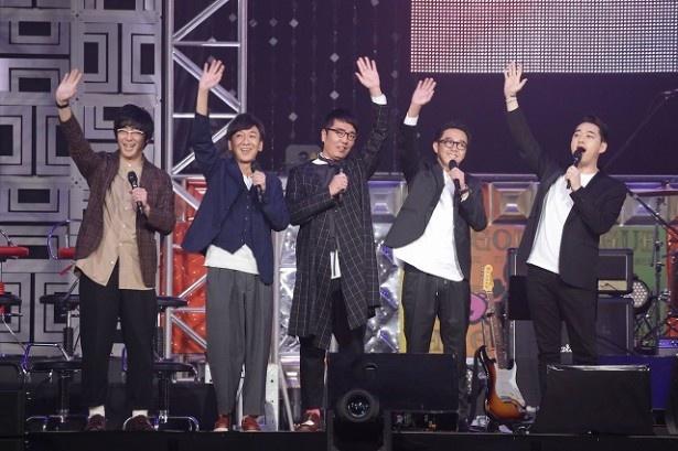 『マジ歌ライブ2017 ~マジ武道館~』でMCを務めた(左から)豊本明長、飯塚悟志、小木博明、矢作兼、設楽統