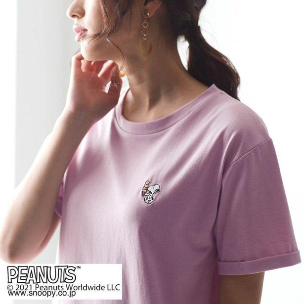 「スヌーピー ドロップショルダーのオーバーTシャツ」ラベンダー