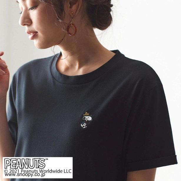「スヌーピー ドロップショルダーのオーバーTシャツ」ブラック