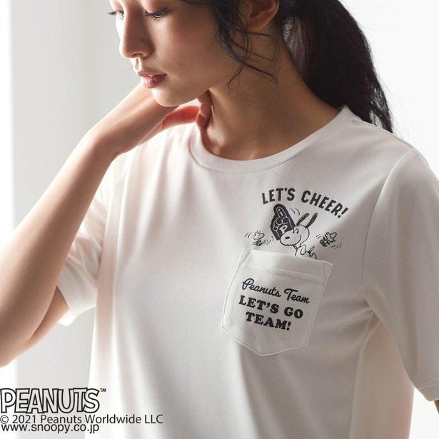 「スヌーピー 吸汗速乾 半袖ポケットTシャツ」オフホワイト