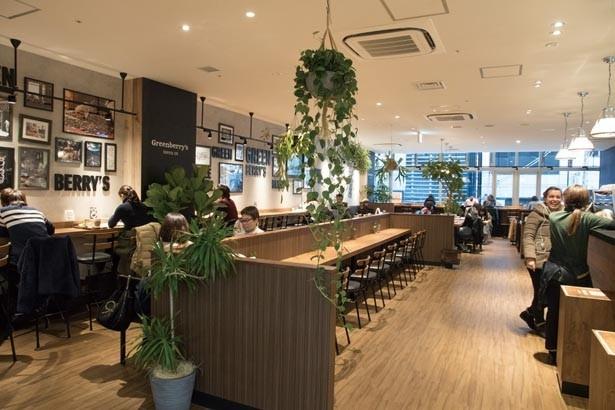 開放的な空間に大テーブルやソファーなどさまざまな席がある。丁寧なスタッフの接客も好評/Greenberry's Coffee