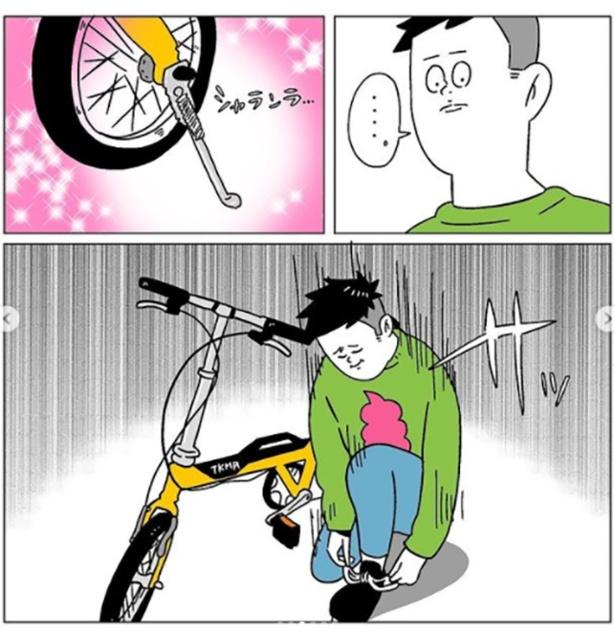 自転車のスタンドを上げるつもりが…(3/6)