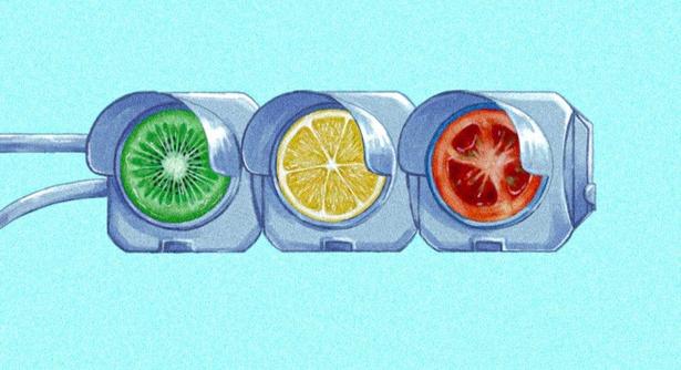 キウイ、レモン、トマトが輝く信号機。イラストの方向性を見付けるきっかけとなった思い入れの強い作品だという