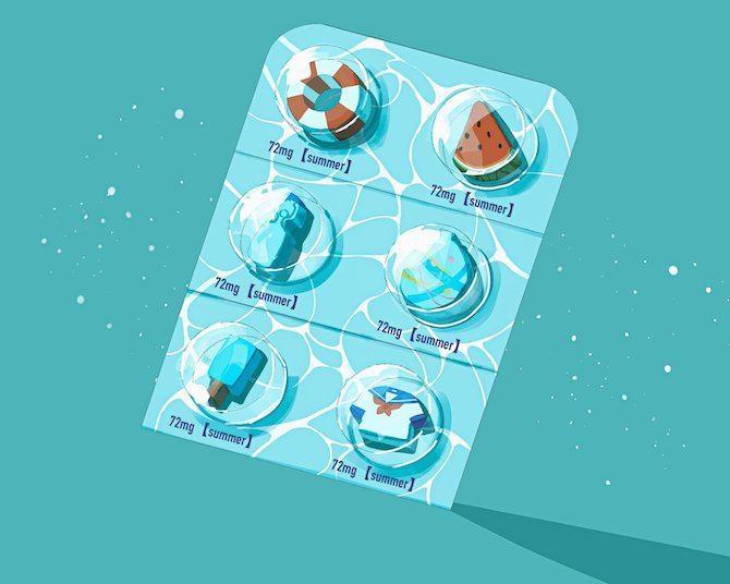 アイスバー×プール、浮き輪×錠剤!組み合わせがおもしろい夏イラストが話題