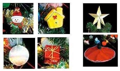 1999円ツリーセットの付属品。かわいいオーナメントやトップの星飾りなど