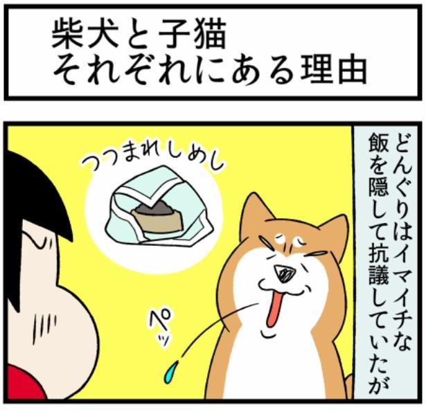 猫のすずらんシリーズ「柴犬と子猫それぞれにある理由」1。続きを読むときは画像をクリック!