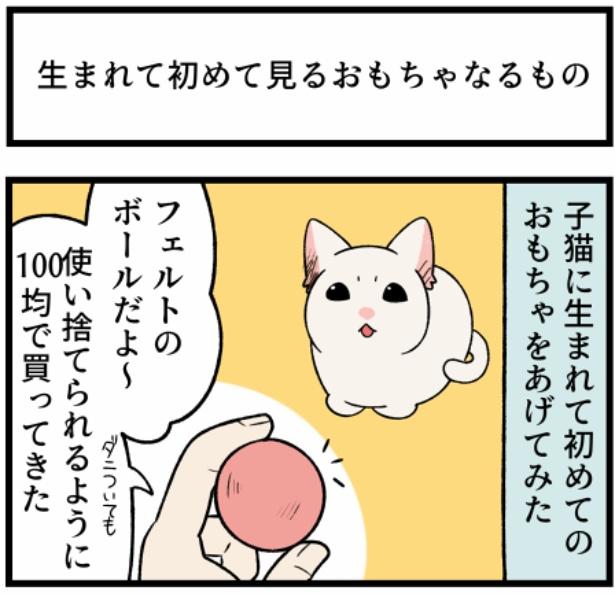 猫のすずらんシリーズ「生まれて初めて見るおもちゃなるもの」1。続きを読むときは画像をクリック!