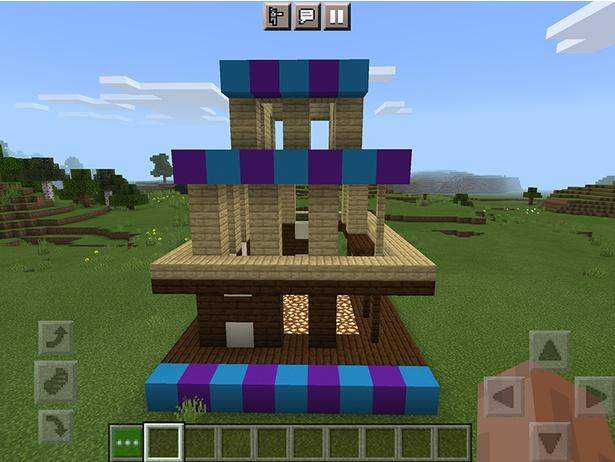 横(実際の舎利殿でいうと西側)から見た骨組み。色ブロックはサイズガイドなので、実際には組まなくてOK