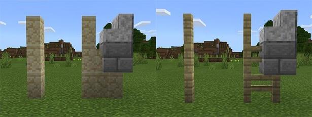 左が壁ブロック、右がフェンスブロック。それぞれ、3段積んだものと、隣に他のブロックを組み合わせたものを比較