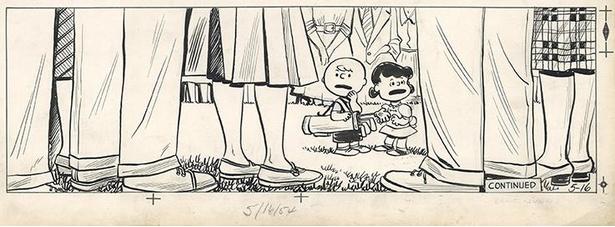 ルーシーが大人に混ざってゴルフトーナメントに初出場。「PEANUTS」の中で大人(足だけ)が登場するのは唯一このシーンだけ。「無名の新人、トーナメントへ。」(1954年5月16日)