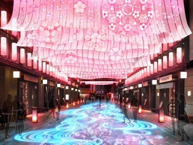 コレド室町1、コレド室町2の間に位置する仲通りが桜吹雪に包まれる「NIHONBASHI SAKURA GATE」