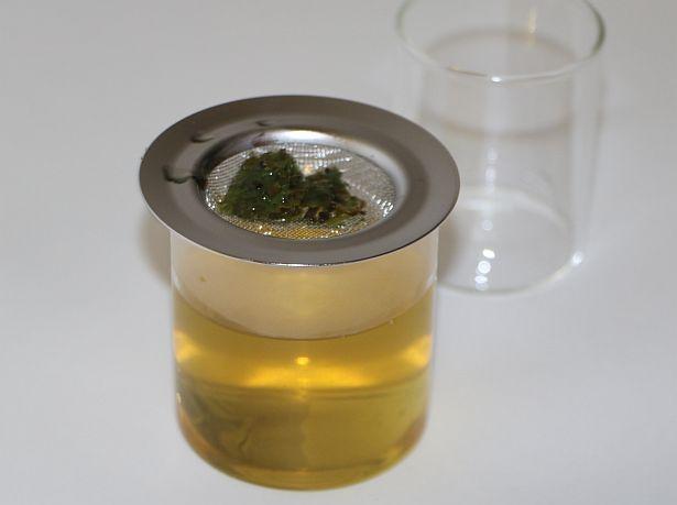 昨年伊藤園から発売されたガラス製茶器「OchaSURU? Glass Kyu-su(※1)」でお茶をいれた