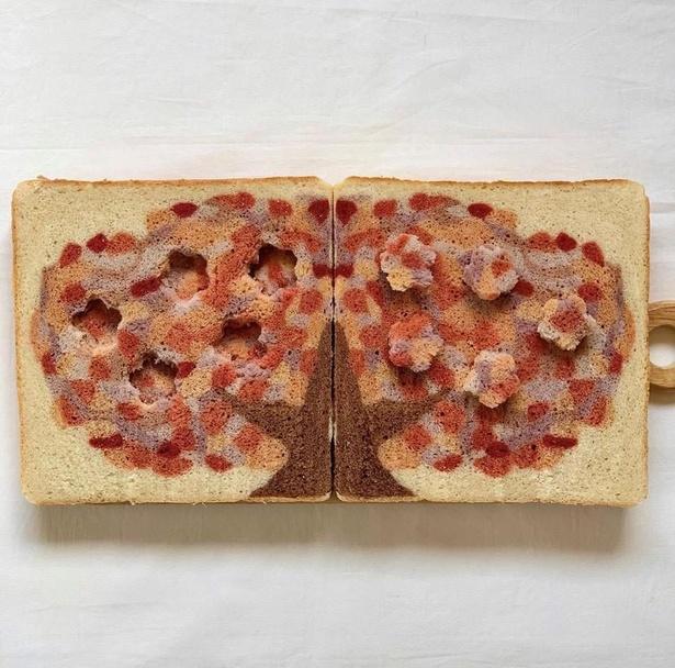 桜の木を表現したイラストパン。色の変化にも注目