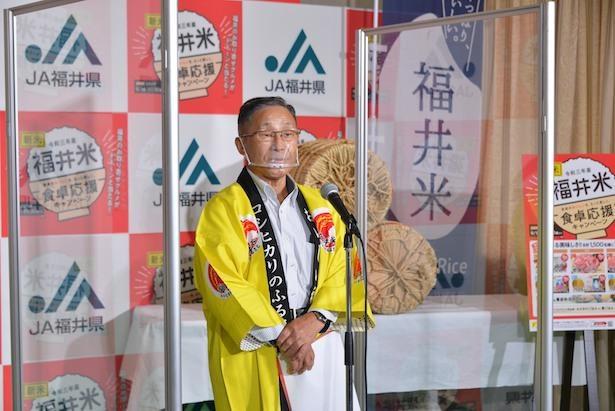JA福井県冨田組合長はブランド米は「シンプルに梅干しとの相性が最高」と話した。