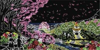 続いて「春」。サクラの花びらやタンポポの綿毛が空を舞う風景が温かな色合いで表現