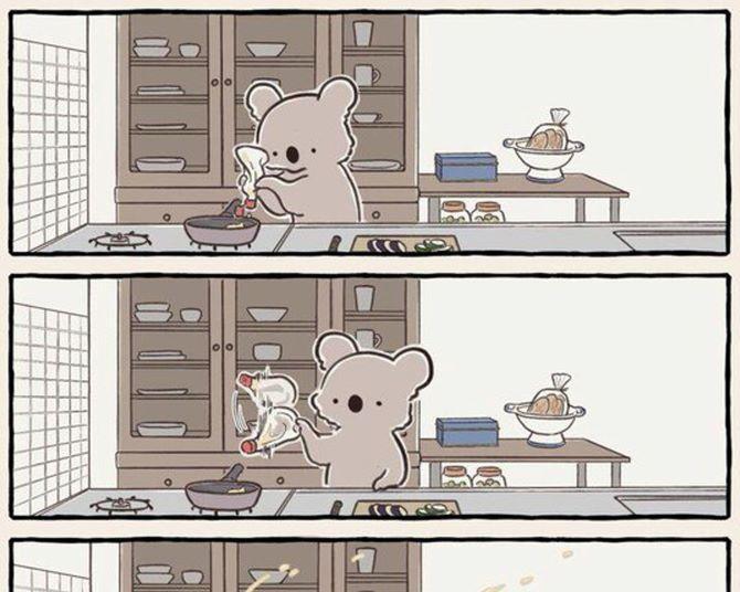 「作り置きするはずが完食」「エアコン付けたら付けたで寒い」日常あるあるをコアラで描く漫画が話題に!