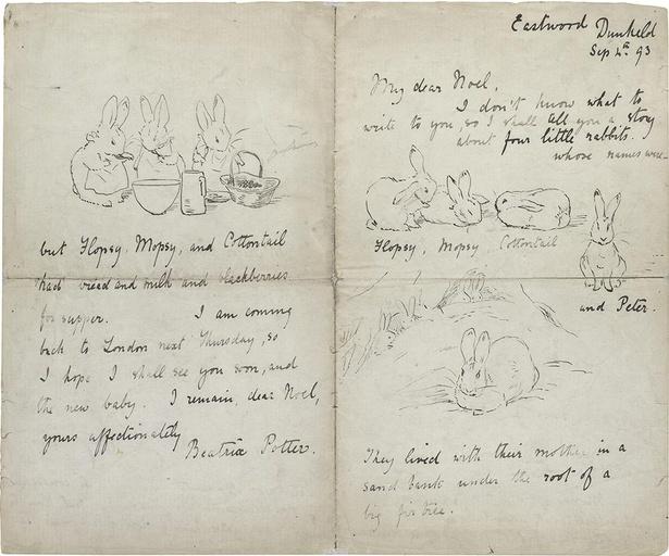 《ノエル少年への絵手紙》。右端に描かれている正面を向いたうさぎが、のちのピーターラビットだ