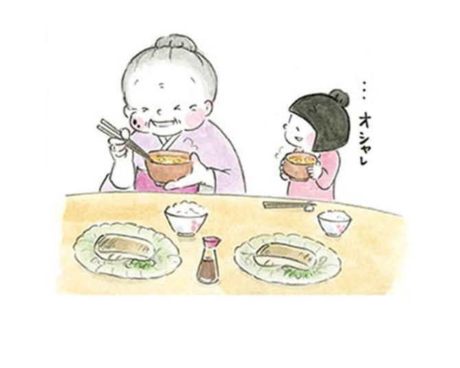 【漫画】「なんかなめこって…」お味噌汁をじっと見つめる小梅さん。飛び出した可愛らしい発想に、梅さんもほっこり!/梅さんと小梅さん おばあちゃんとの春夏秋冬