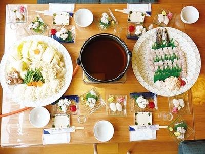 沼島名物ハモ尽くしを楽しめる「お昼のコース(鱧すき)」(8640円)。5~9月の期間限定なのでチェックを/漁師の店 あさやま