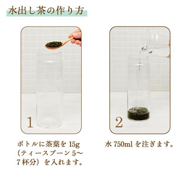 水出し茶の作り方を解説。ボトル部分に茶葉と水を注いで……