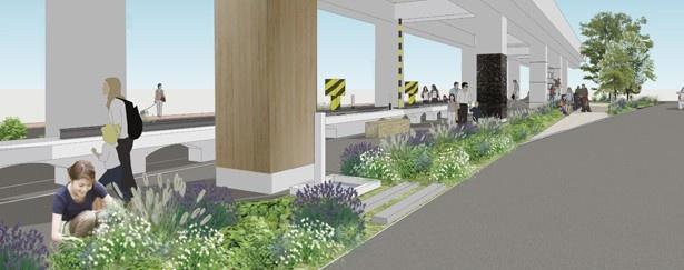 園内には花や緑を植樹したコミュニティガーデンも設けられる