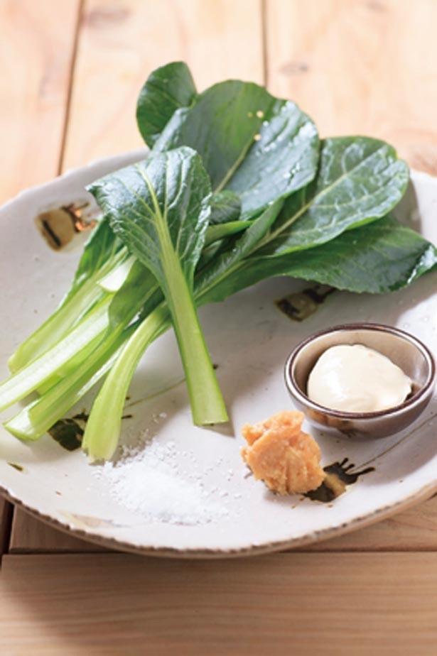 「小松菜の小松菜による小松菜のためのサラダ」(626円)のほかにも野菜を使ったメニューは豊富/robata279 -僕が櫂を捨てた理由