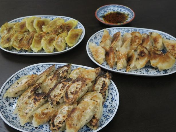 MYP餃子(手前)、カレー餃子(右奥)、鶏餃子(左奥)