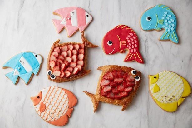 かわいらしい表情の魚型パイ「ポワソン ダブリル」やクッキーも