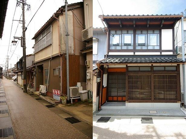 石川県金沢市の、築80年の町家を購入してリノベーション。現在、カフェ&設計事務所&住居として使われている。左がリノベ前、右がリノベ後