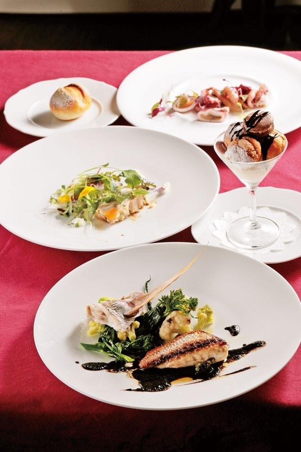 「リュエルのランチコース」(1800円)。本日のメインディッシュは桜鯛のポワレ。メインディッシュは肉、魚から選べる/Ruelle