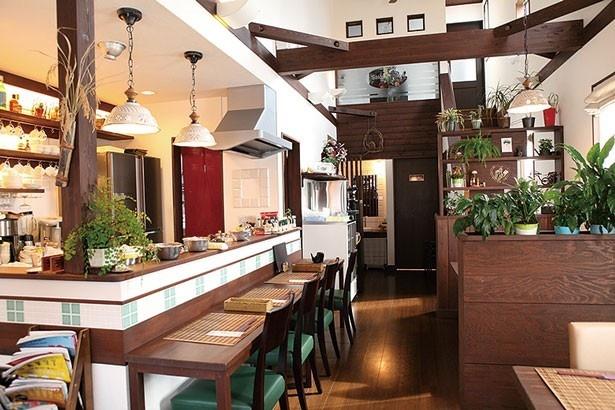 白とウッドを基調に、観葉植物の緑が目に優しい/ロハスカフェ