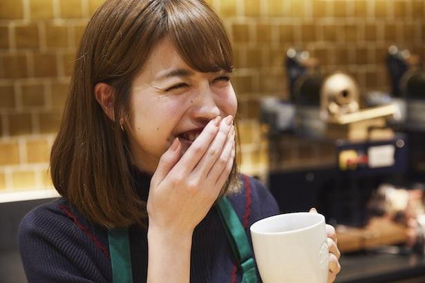 コーヒー好きの中島さん、ハンドドリップの味にご満悦