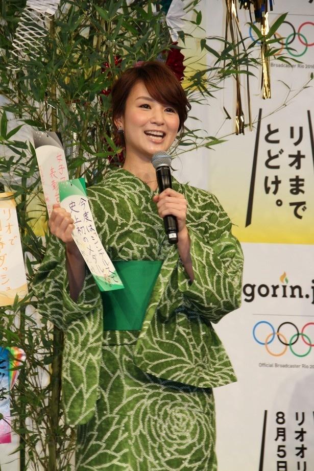 秋元玲奈アナ(テレビ東京)は「今度は『シングルス』で史上初のメダル!!」と、卓球への愛を語った